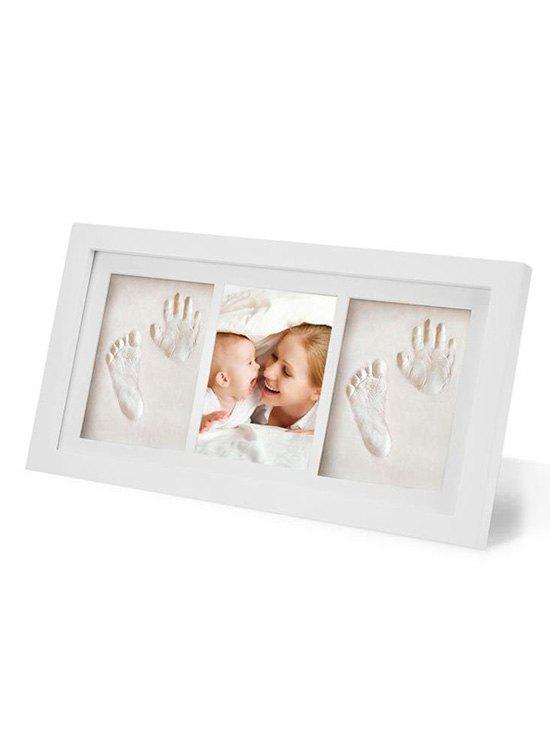 Baby Handprint and Footprint Clay Wooden Frame Kit - WHITE