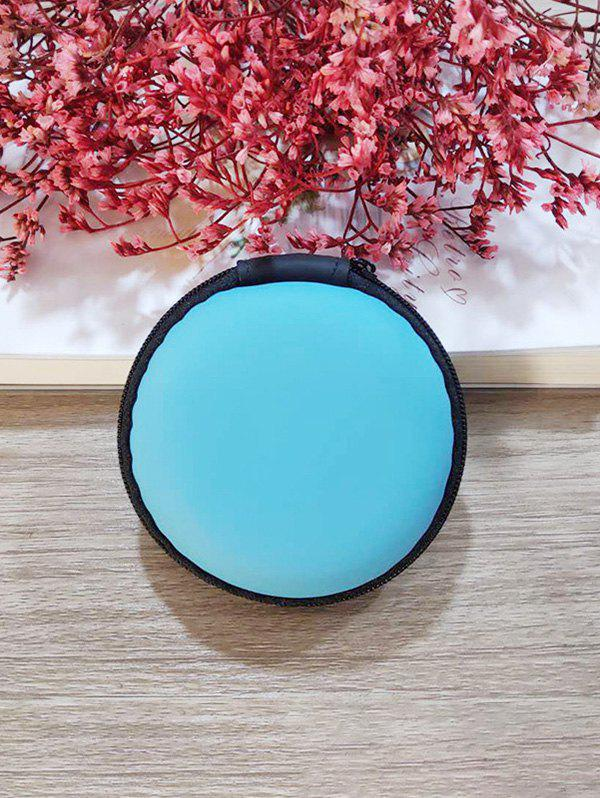 Portable Round Earbud Travel Carrying Case Earphone Storage Case - BLUE