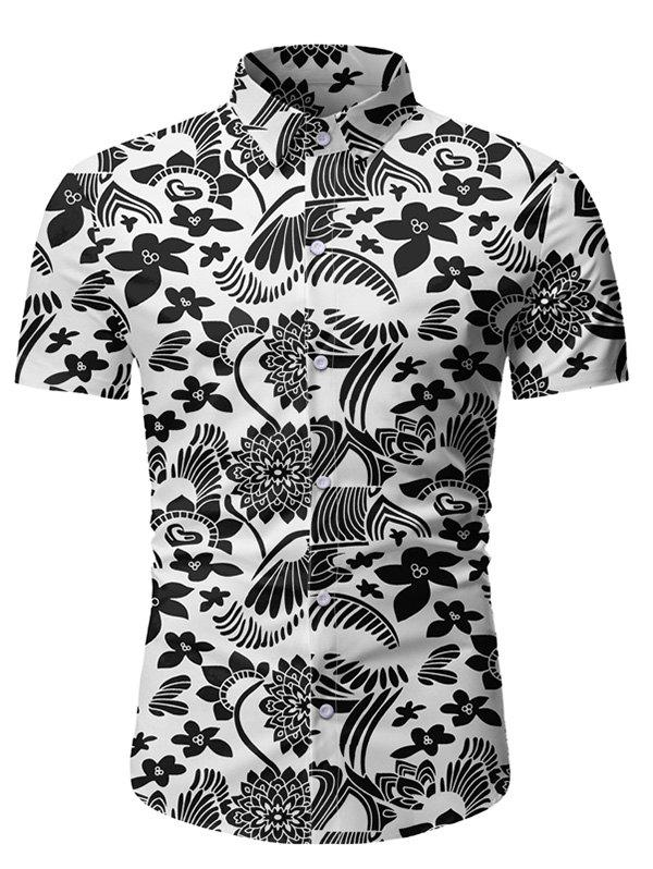 Floral Pattern Button Short Sleeves Shirt - WHITE 3XL