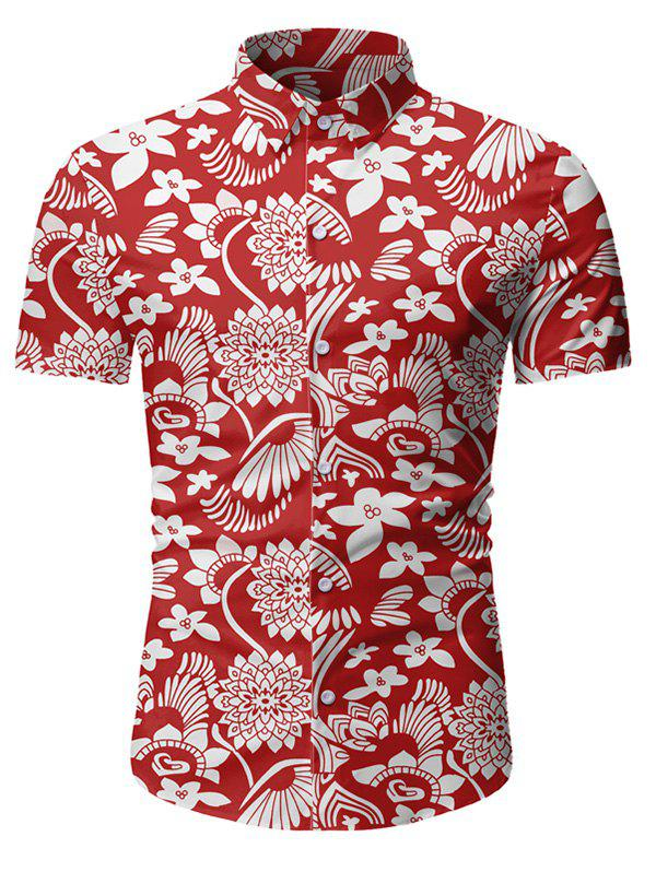 Floral Pattern Button Short Sleeves Shirt - RED 3XL