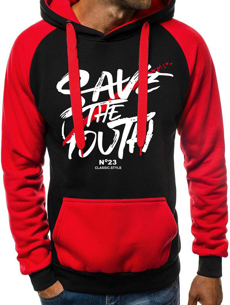 Graphic Letter Pattern Pocket Fuzzy Hoodie - RED M