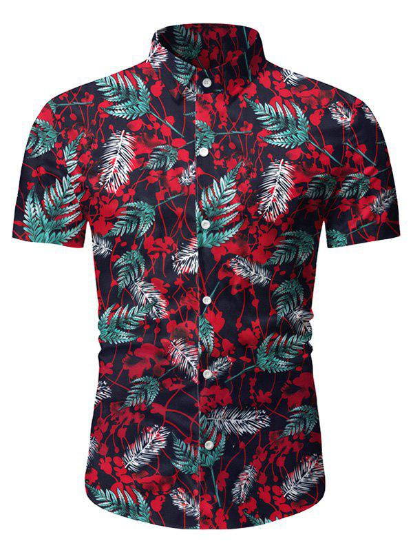 Leaf Pattern Button Up Short Sleeves Shirt - LAVA RED 3XL