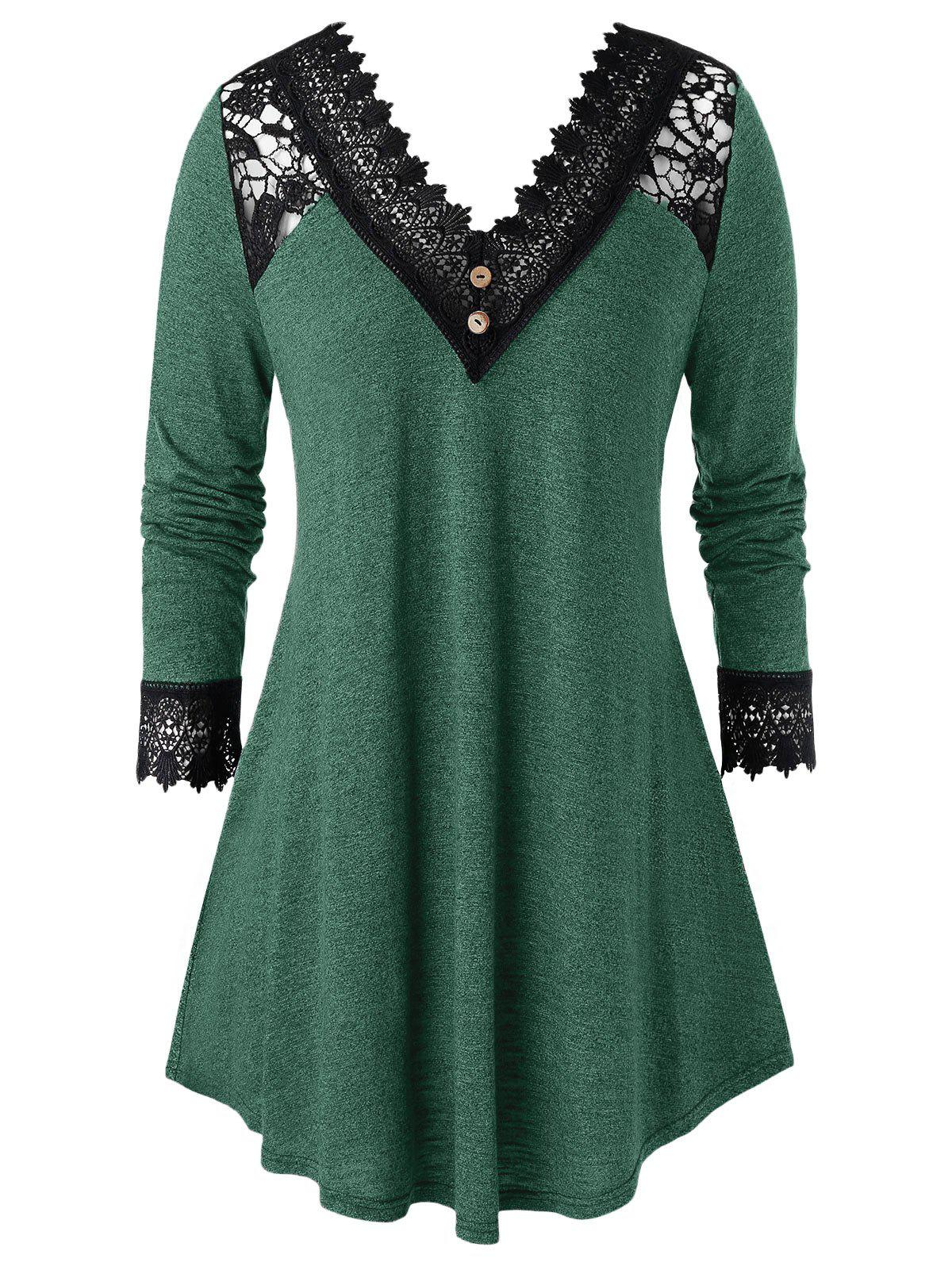 Plus Size Crochet Panel V Neck Long Sleeve Tunic Tee - SEA TURTLE GREEN 1X