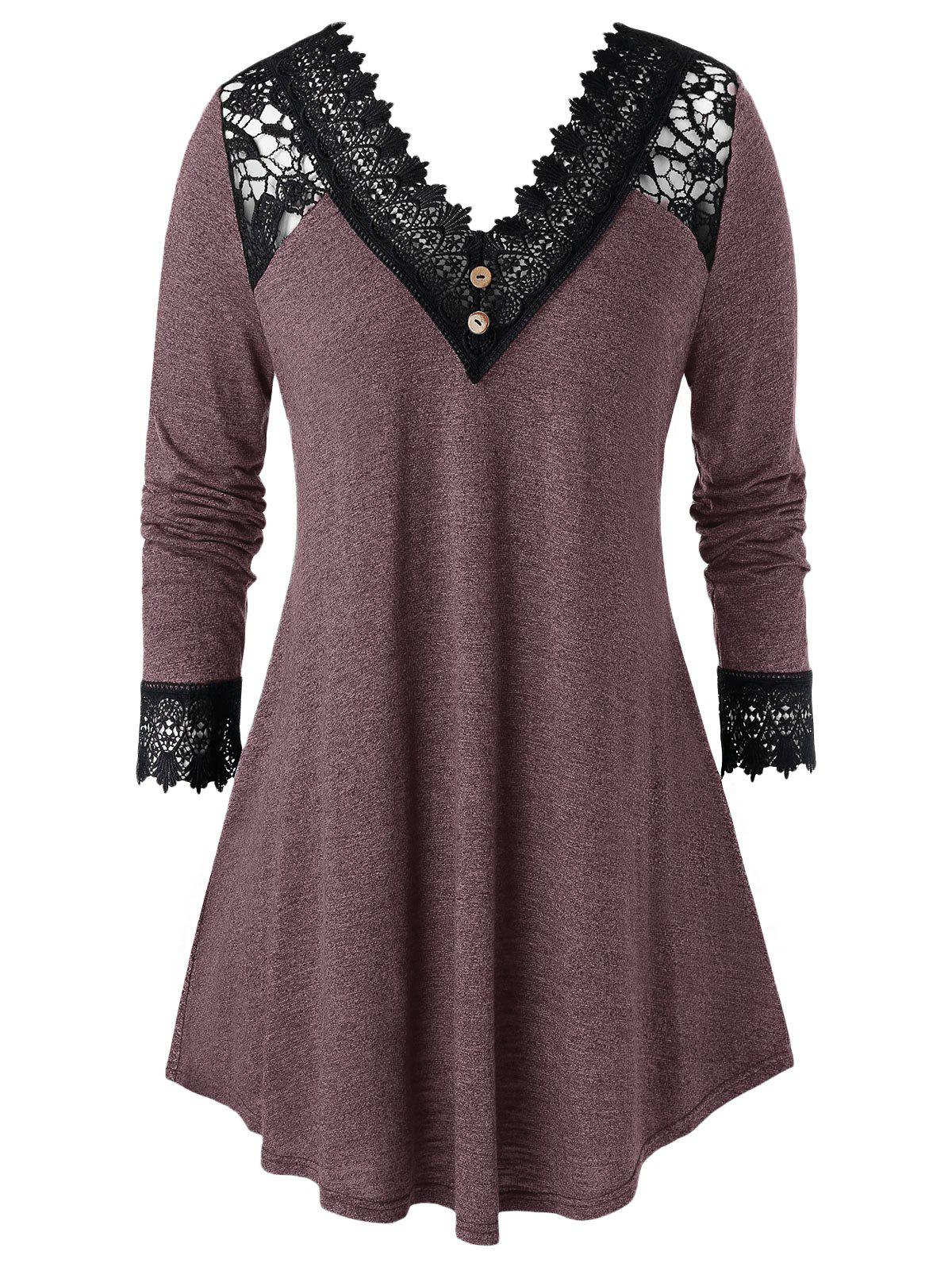 Plus Size Crochet Panel V Neck Long Sleeve Tunic Tee - RED WINE 5X