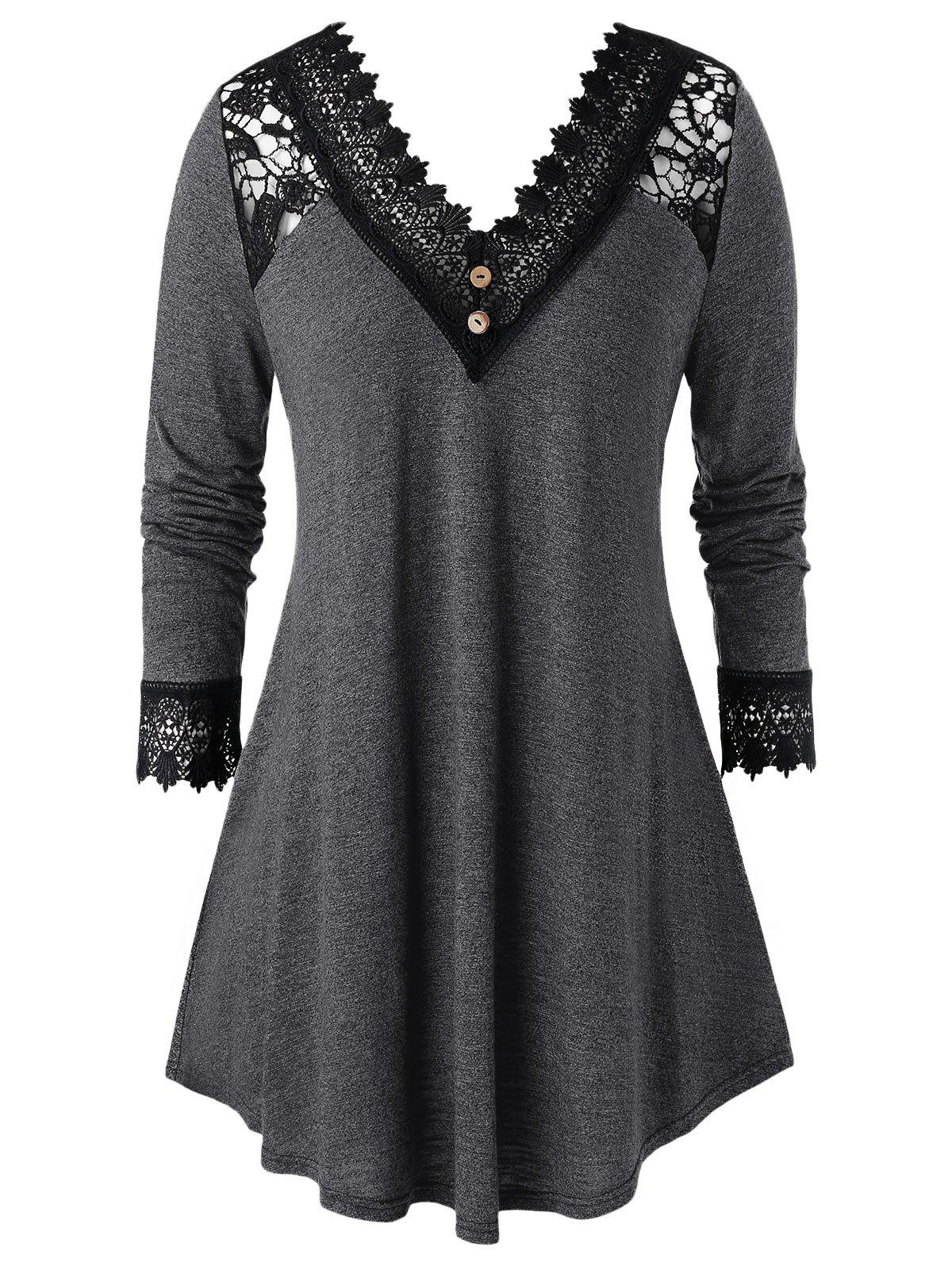 Plus Size Crochet Panel V Neck Long Sleeve Tunic Tee - DARK SLATE GREY 5X
