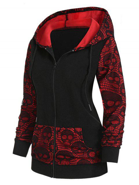 Skull Graphic Front Pocket Zip Up Hoodie