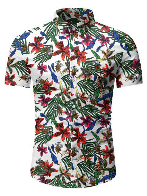 Leaf Floral Pattern Short Sleeves Casual Shirt
