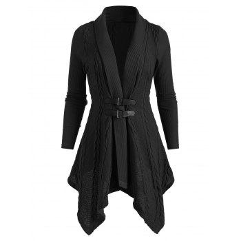 Buckle Shawl Collar Asymmetrical Cardigan