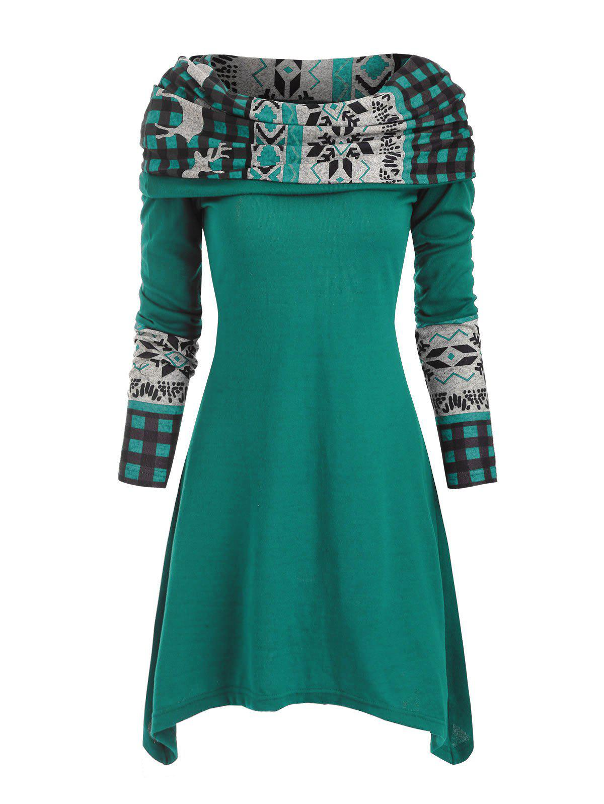 Christmas Elk Plaid Knitted Multiway Asymmetrical Dress - LIGHT SEA GREEN XL