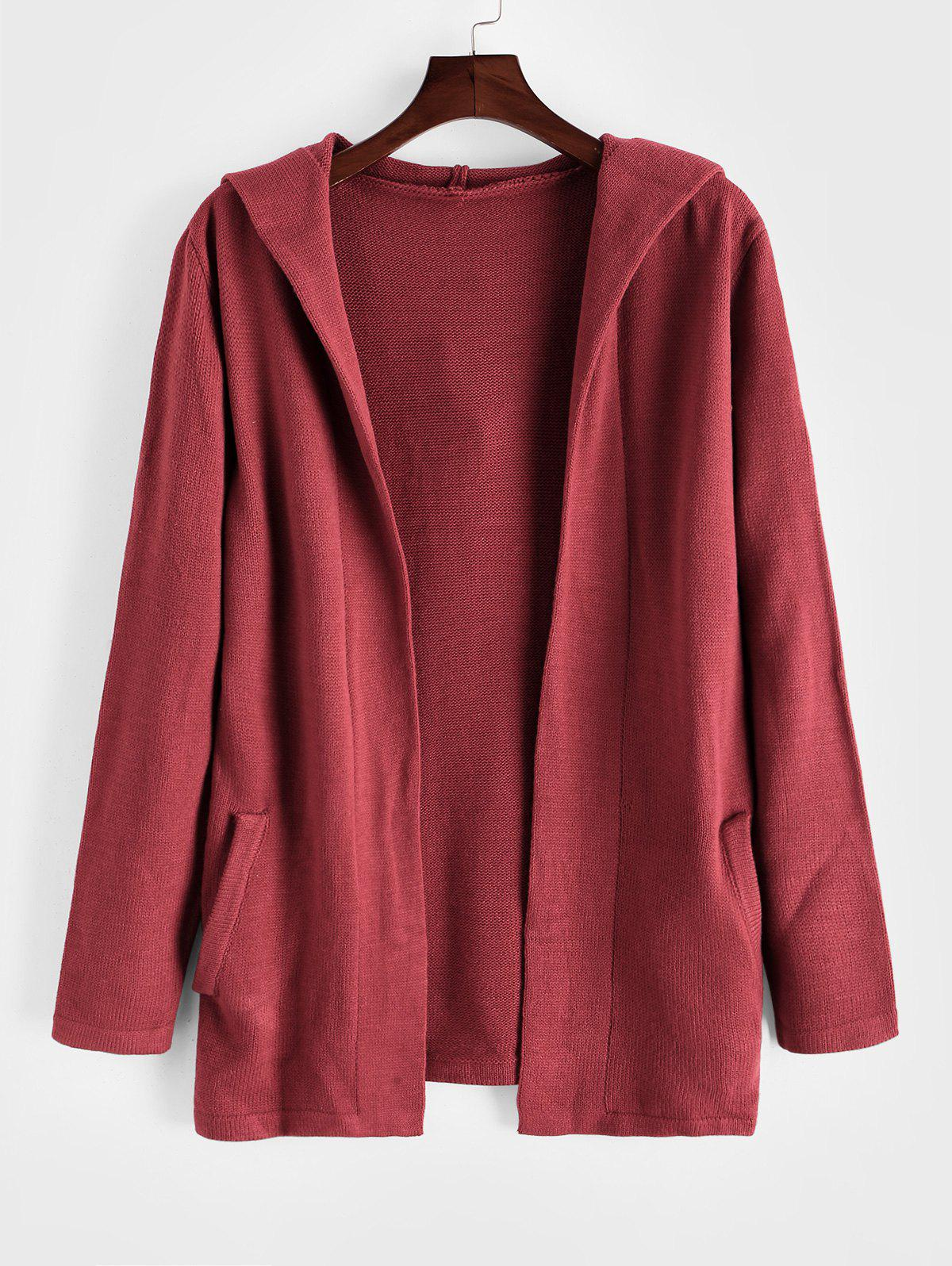 Solid Color Open Front Hooded Cardigan - RED XL