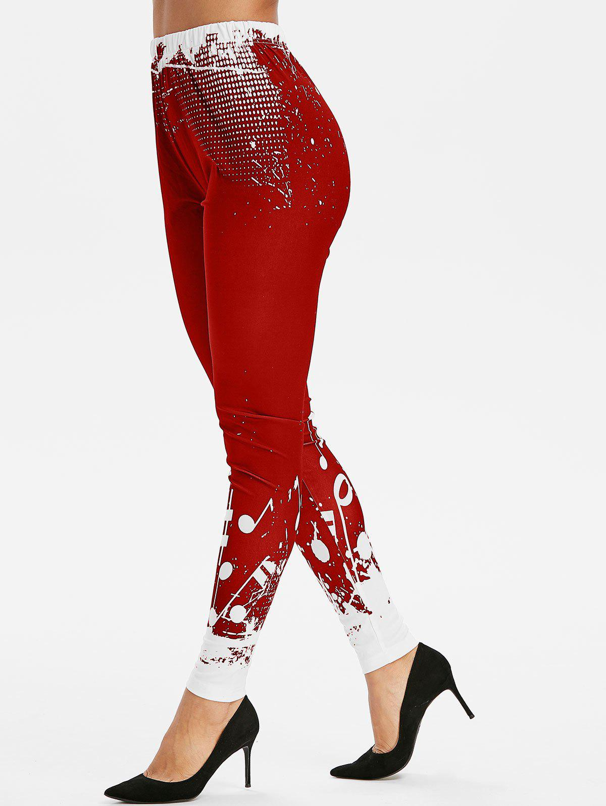 High Waist Musical Notes Print Leggings - LAVA RED 2XL