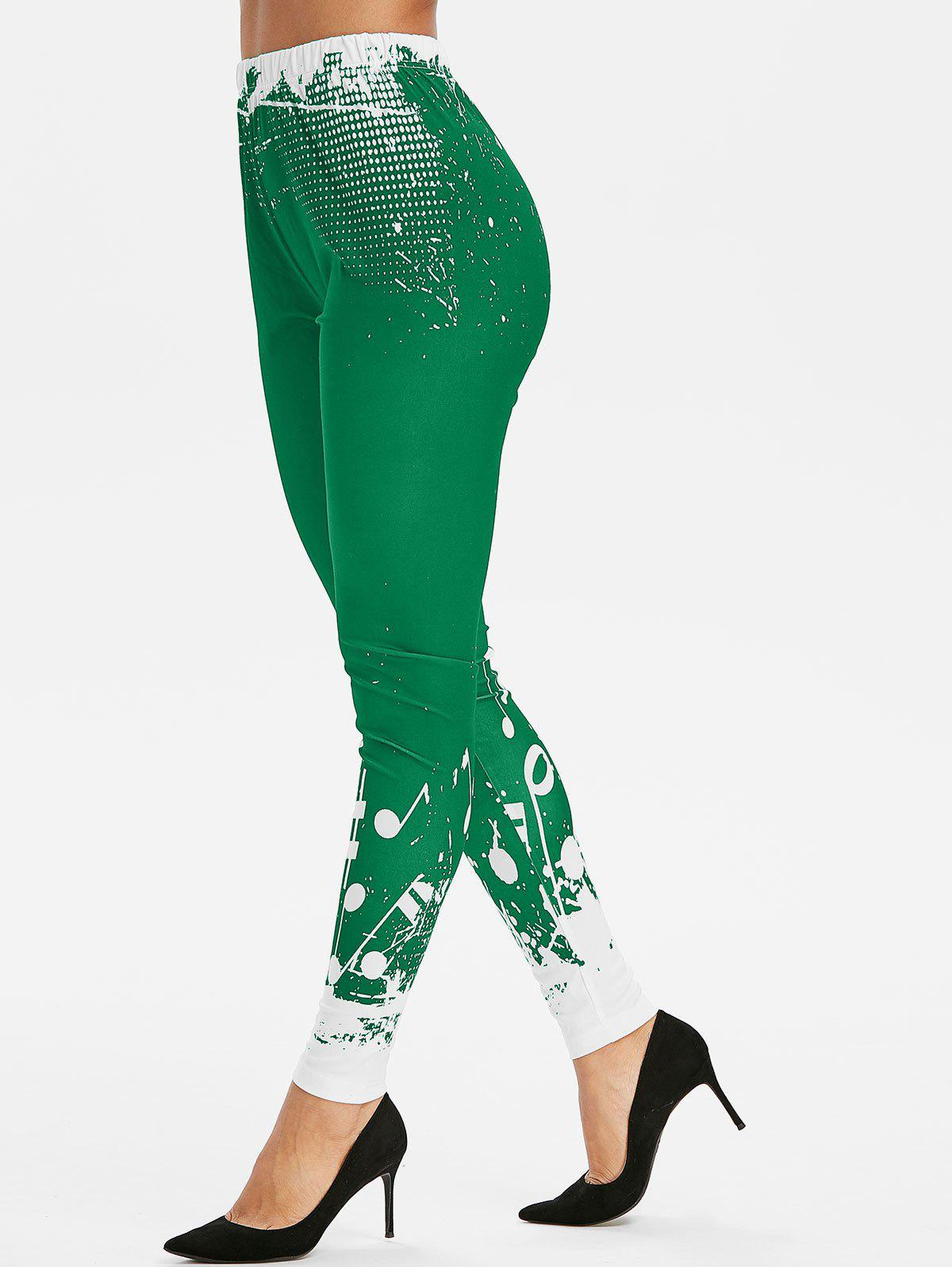 High Waist Musical Notes Print Leggings - SEAWEED GREEN S
