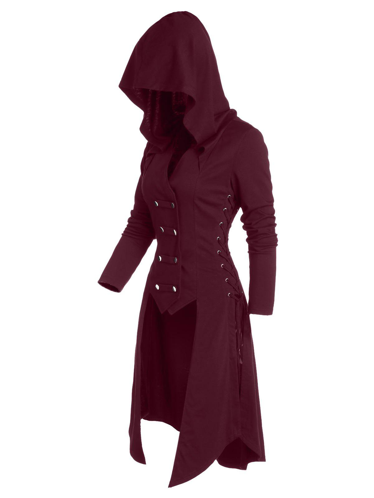 Hooded Lace-up Button Up High Low Steampunk Coat - FIREBRICK M