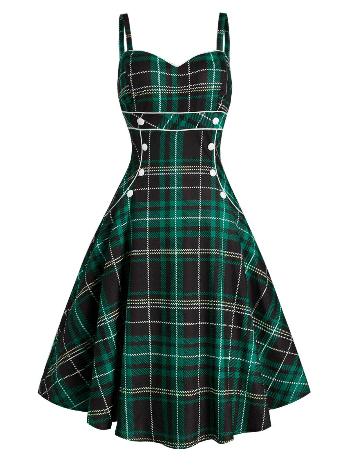 Plaid Button Embellished Sweetheart Rockabilly Style Dress - multicolor B XL