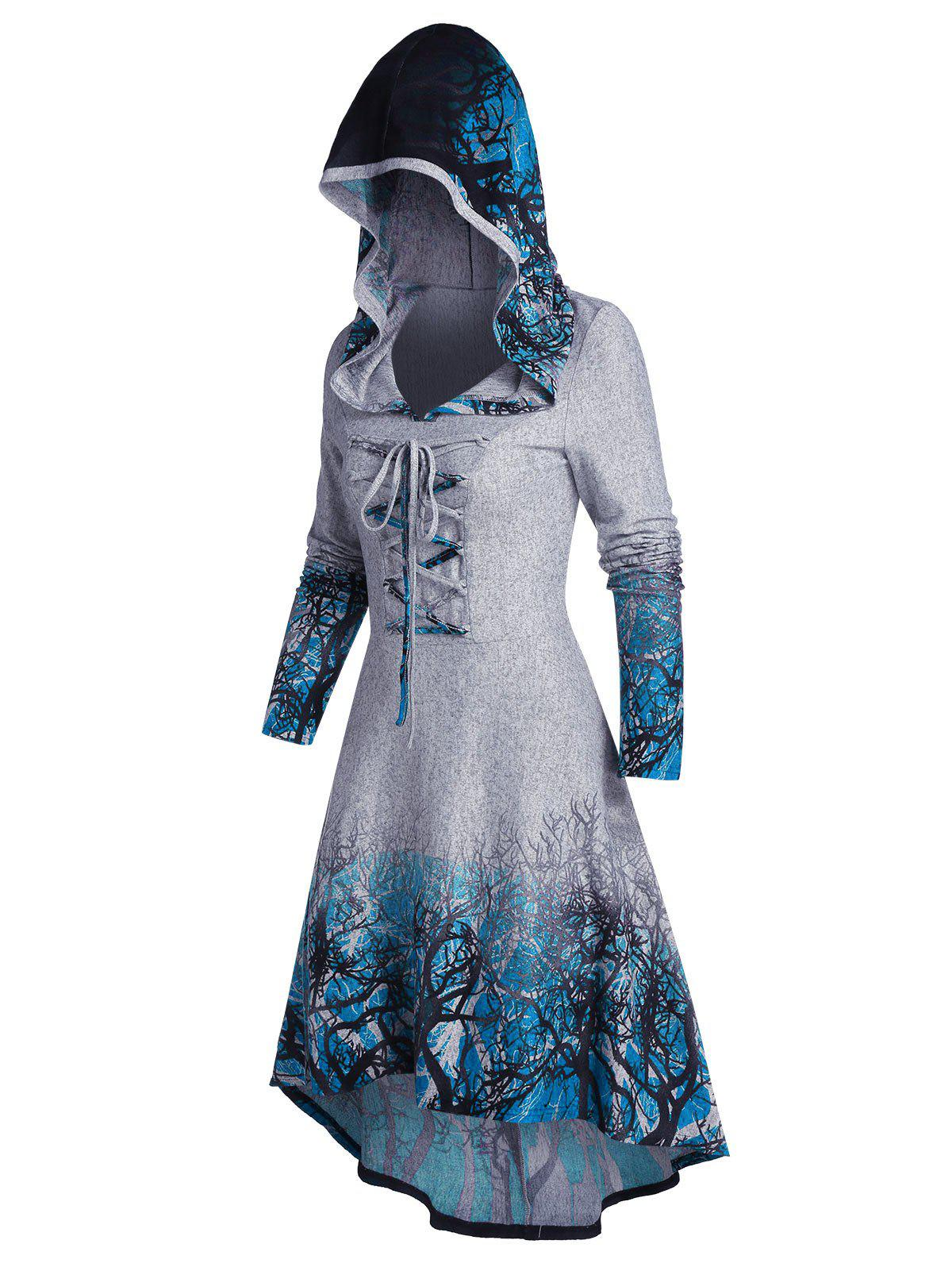 Hooded Tree Root Print Lace-up High Low Dress - BLUE GRAY 2XL