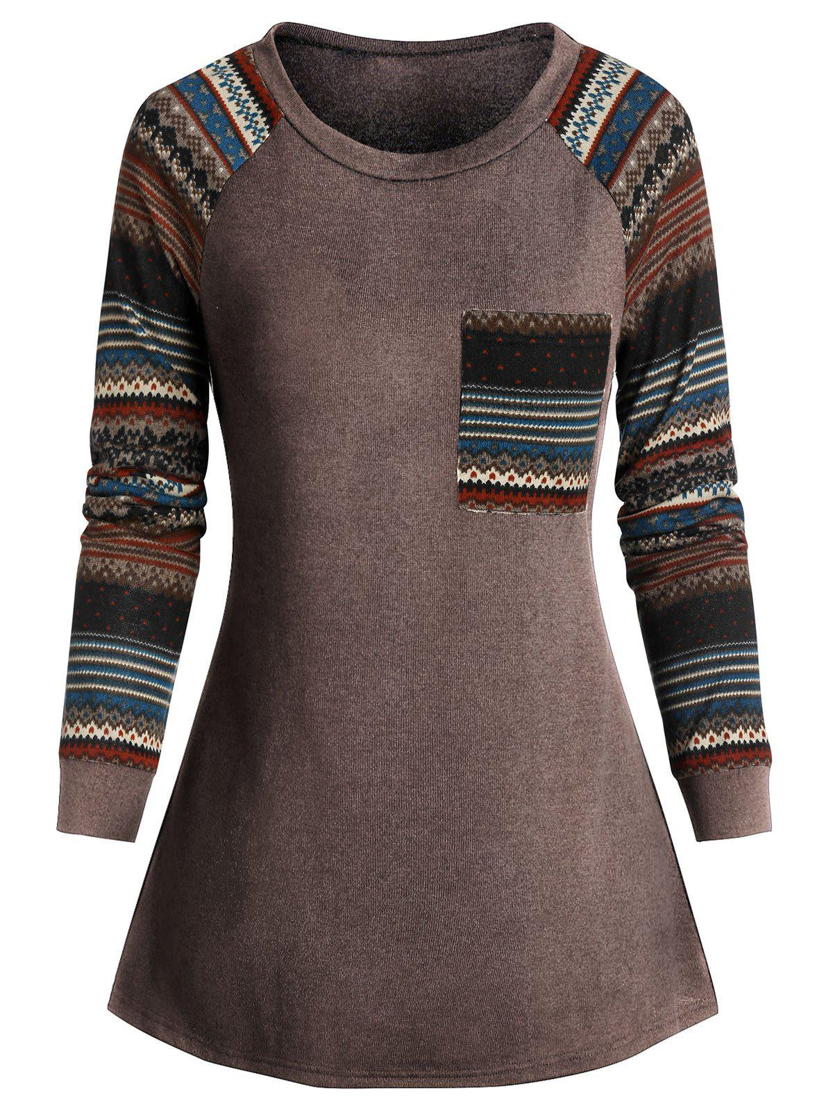 Raglan Sleeve Geometry Pockets T Shirt - COFFEE M