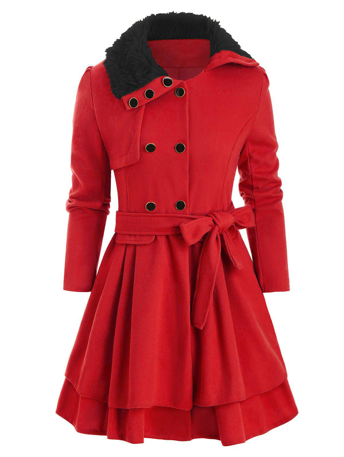 Faux Fur Collar Double Breasted Wool Blend Coat - RED M