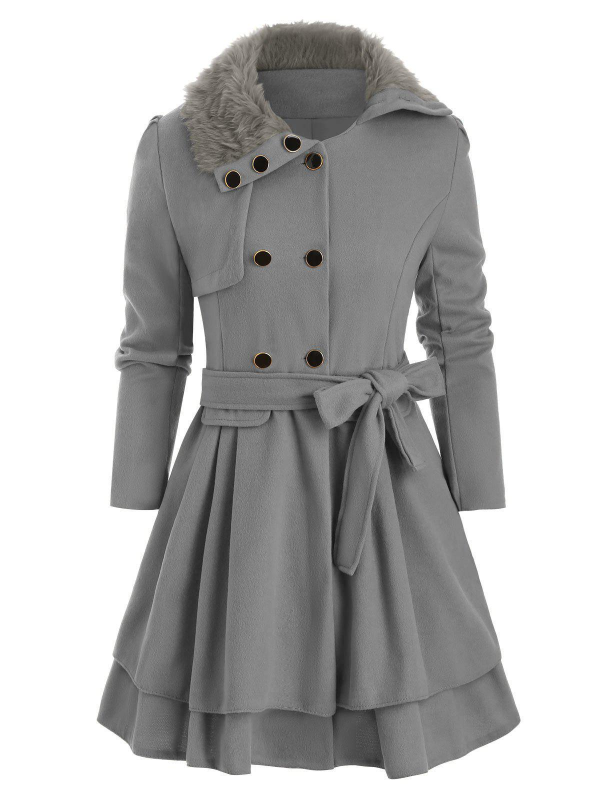 Faux Fur Collar Double Breasted Wool Blend Coat - GRAY CLOUD XL