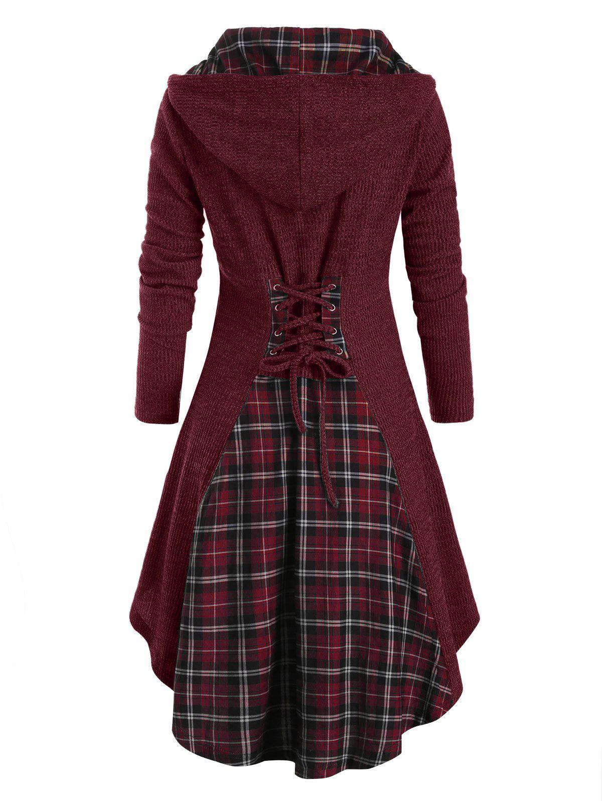 Plaid Horn Button Lace Up High Low Hooded Cardigan - RED WINE M