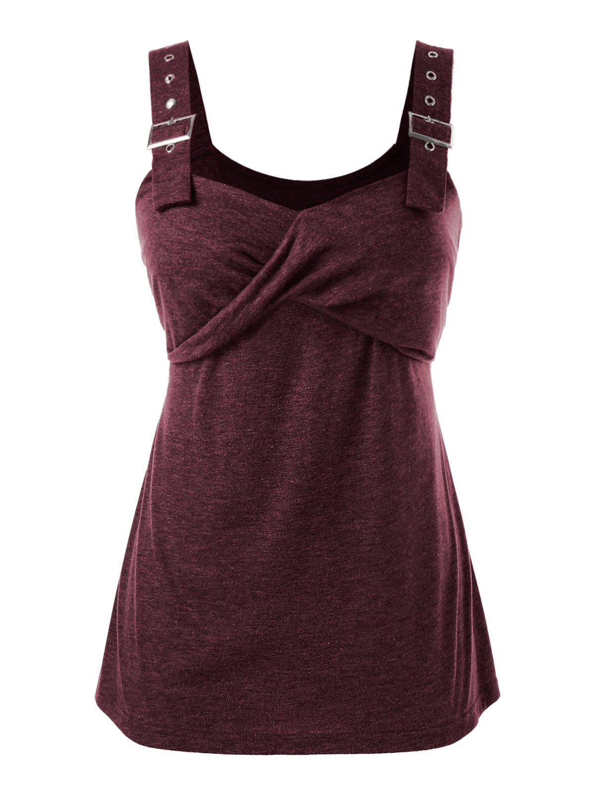 Plus Size Eyelet Buckle Marled Tank Top - RED WINE 4X