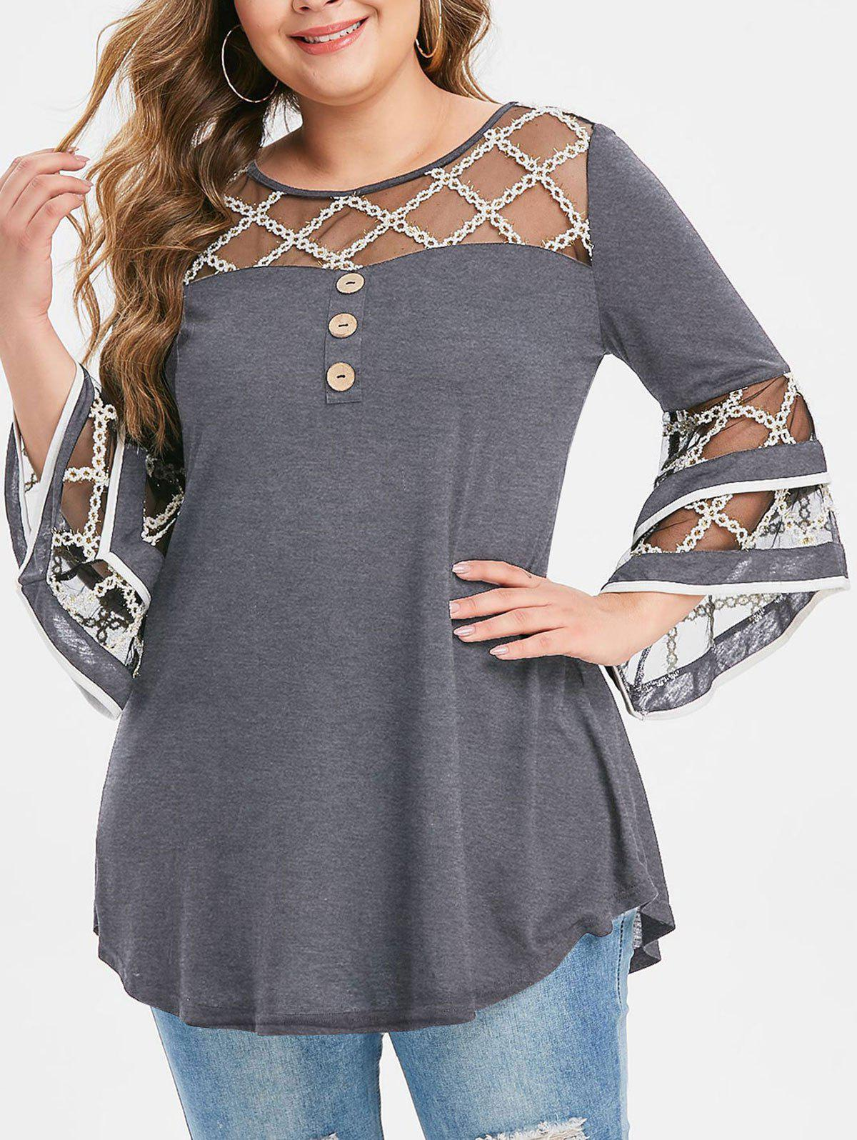 Plus Size Grid Mesh Insert Mock Button Flare Sleeve T-shirt - GRAY CLOUD 3X