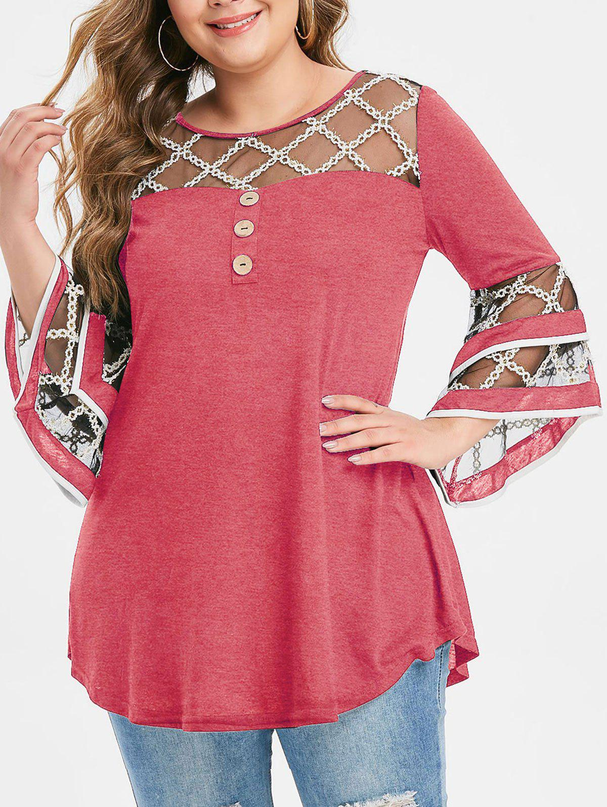 Plus Size Grid Mesh Insert Mock Button Flare Sleeve T-shirt - LIGHT CORAL 5X
