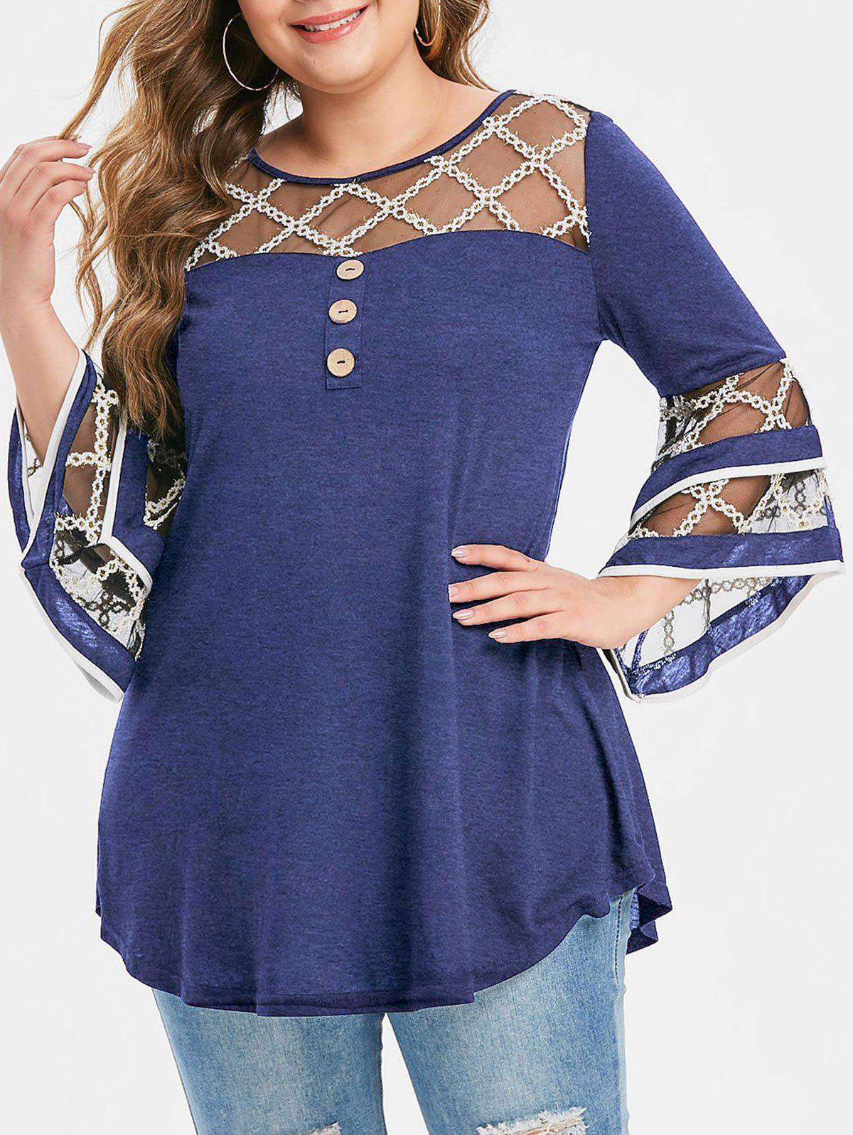 Plus Size Grid Mesh Insert Mock Button Flare Sleeve T-shirt - DEEP BLUE 1X