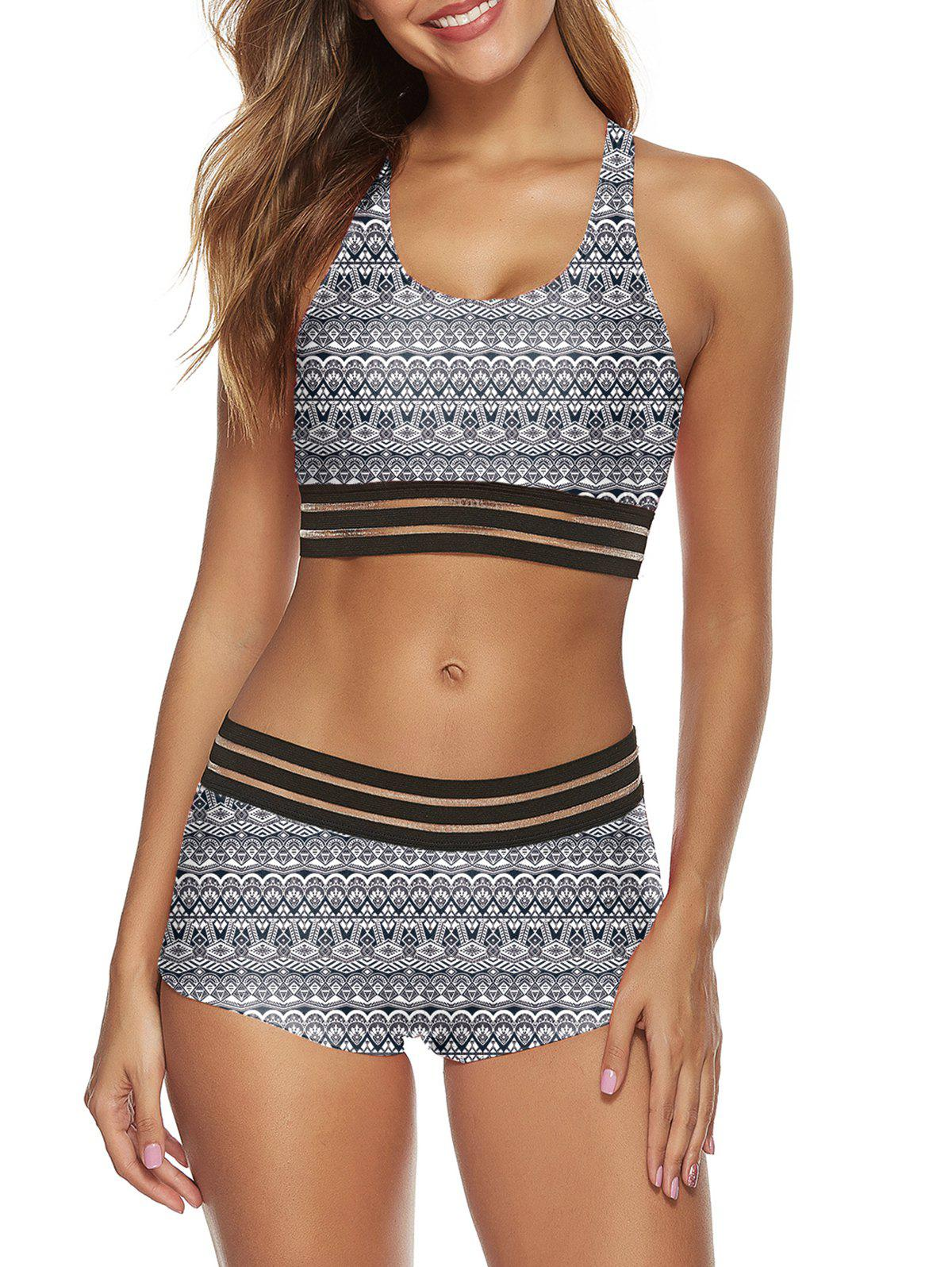 Printed Striped Patched Racerback Tankini Set - WHITE S