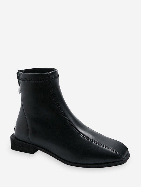 Sewing Detail Square Toe PU Leather Ankle Boots - BLACK EU 35