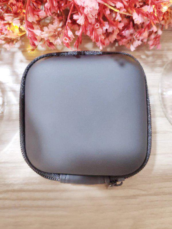 Portable Square Earbud Travel Carrying Case Earphone Storage Case - BLACK