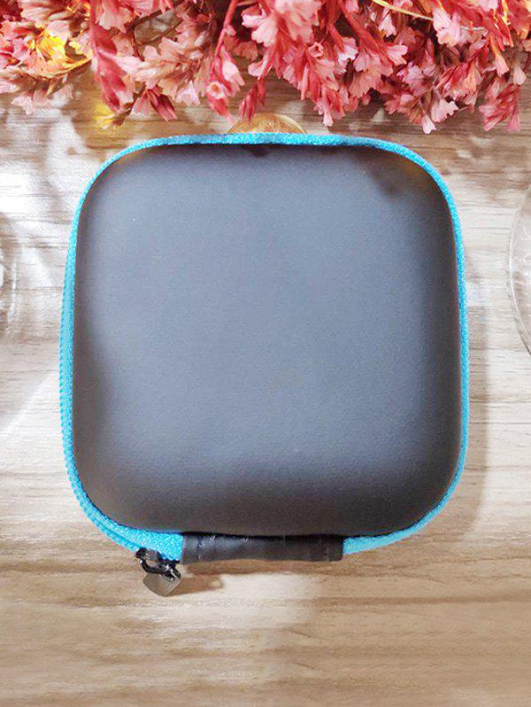 Portable Square Earbud Travel Carrying Case Earphone Storage Case - BLUE