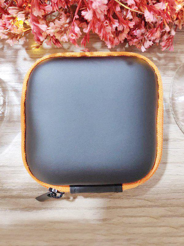 Portable Square Earbud Travel Carrying Case Earphone Storage Case - ORANGE