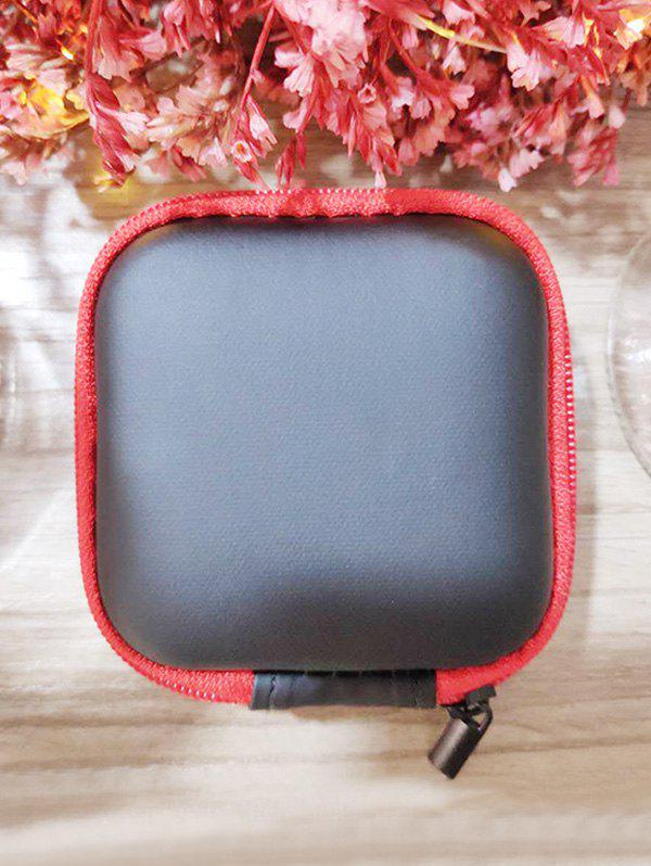 Portable Square Earbud Travel Carrying Case Earphone Storage Case - RED