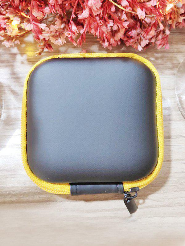 Portable Square Earbud Travel Carrying Case Earphone Storage Case - YELLOW