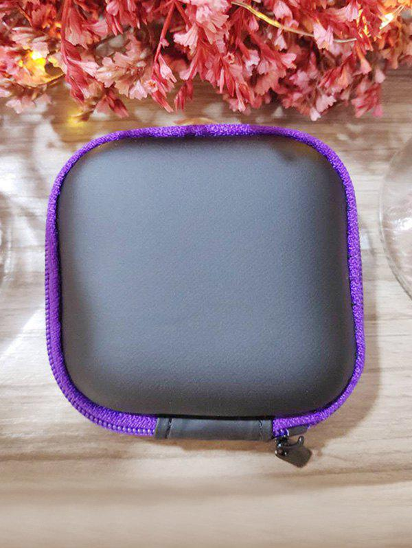 Portable Square Earbud Travel Carrying Case Earphone Storage Case - PURPLE