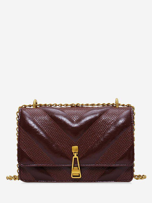 Leather Square Chain Zipper Decorated Shoulder Bag - COFFEE