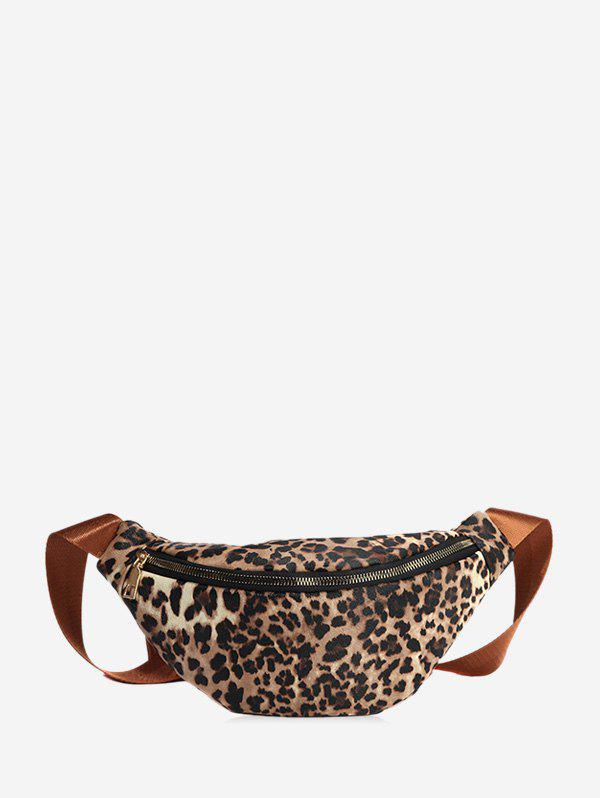 Leopard Print Casual Chest Bag - LIGHT BROWN