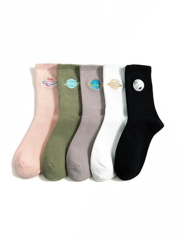 5 Pairs Embroidery Crew Length Socks - multicolor A