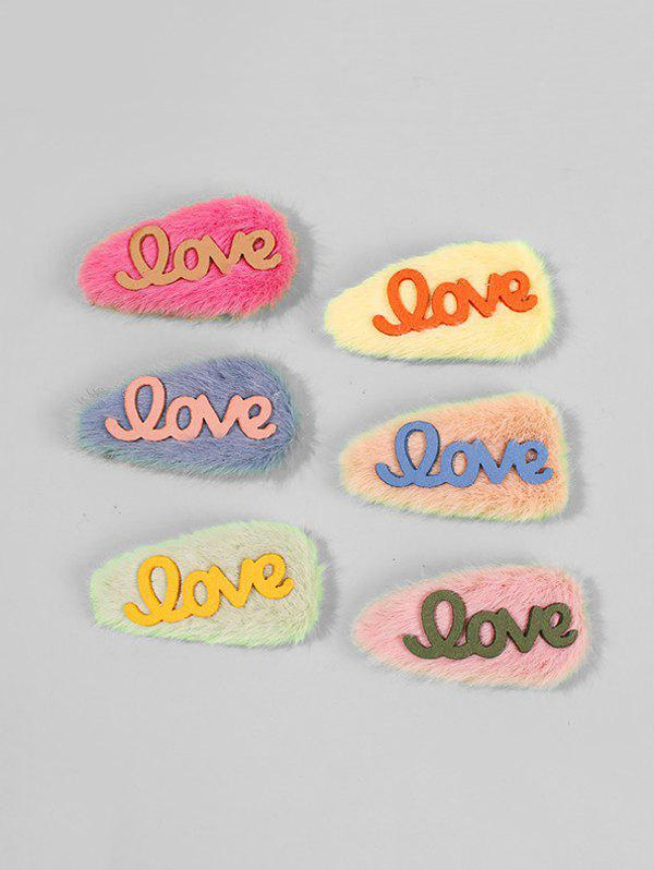 Character Pattern Fur Hair Clips - multicolor A