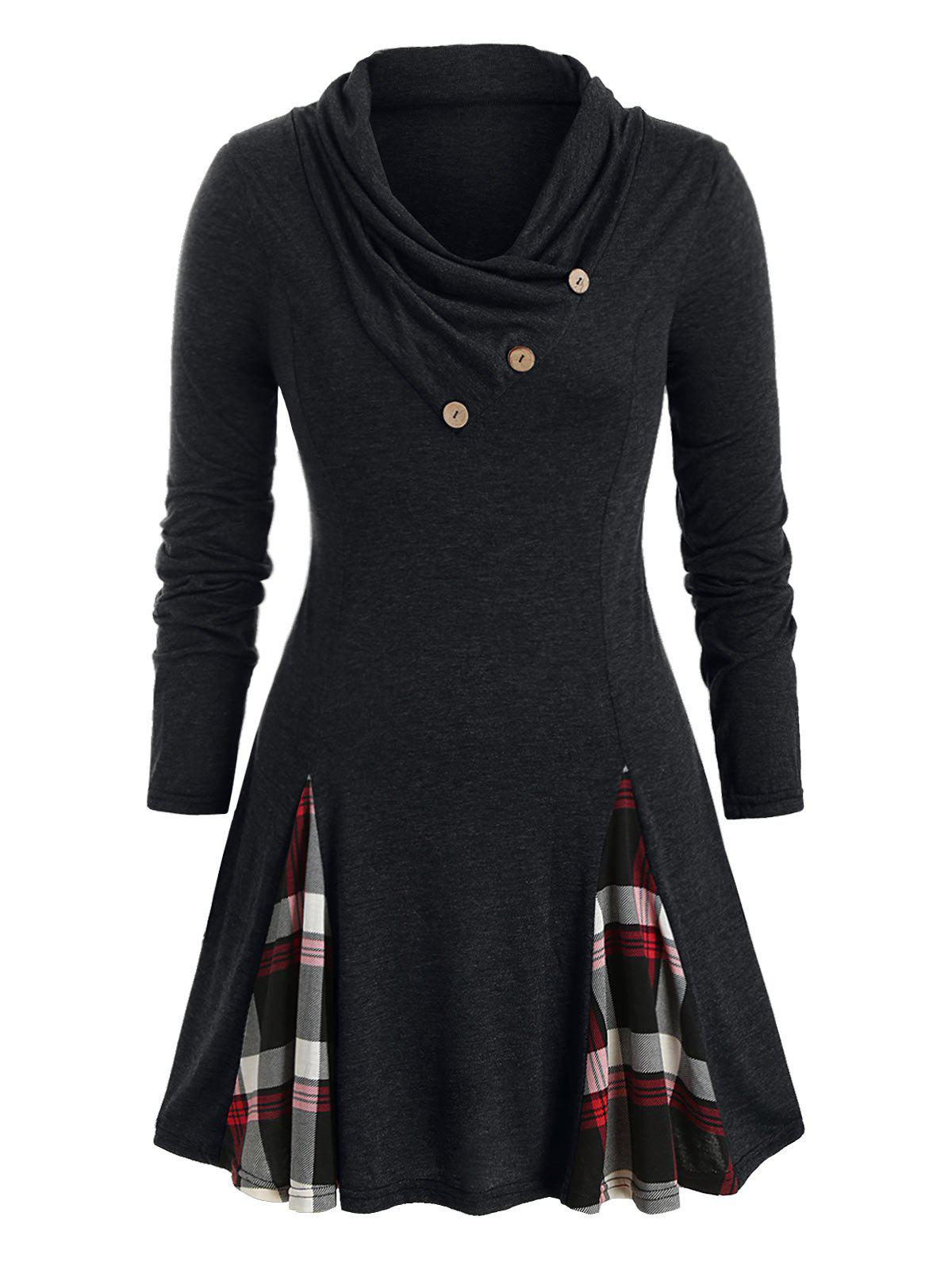 Plus Size Cowl Neck Plaid T Shirt - BLACK 1X