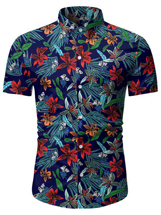 Leaf Floral Pattern Short Sleeves Casual Shirt - DEEP BLUE 3XL