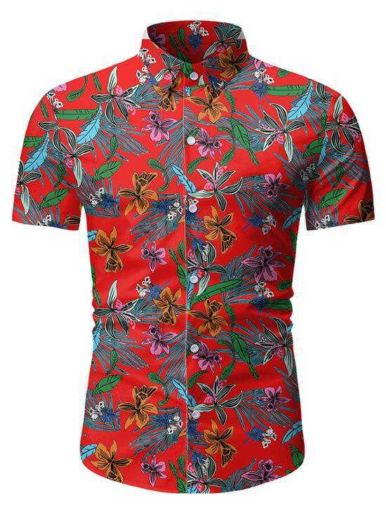 Leaf Floral Pattern Short Sleeves Casual Shirt - Rouge XL