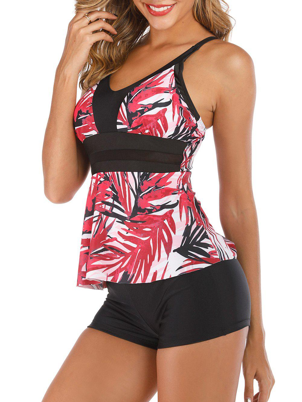 Floral Leaves Mesh Panel Tankini Set - RED XL