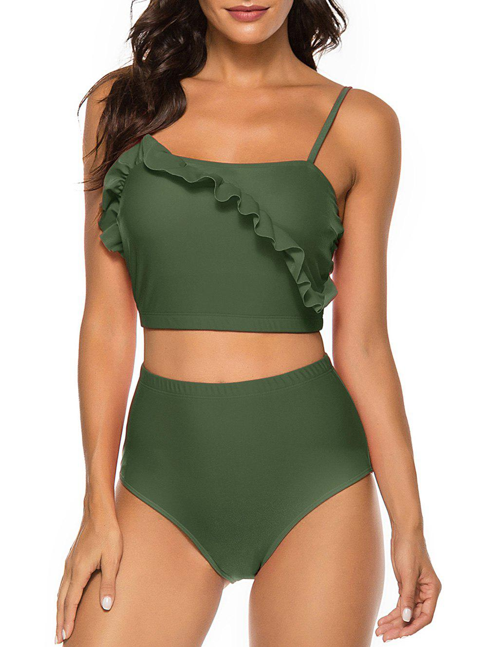 Ruffles Solid Padded Tankini Set - FERN GREEN S