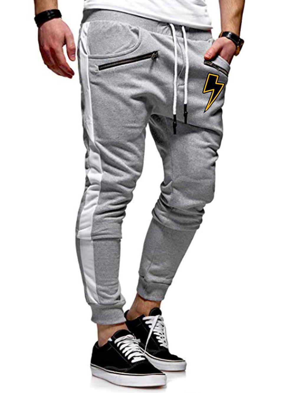 Lightning Print Casual Jogger Pants - LIGHT GRAY 2XL
