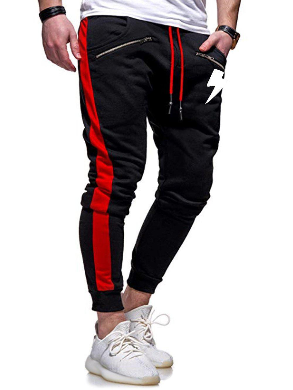 Lightning Print Casual Jogger Pants - RED WINE 2XL