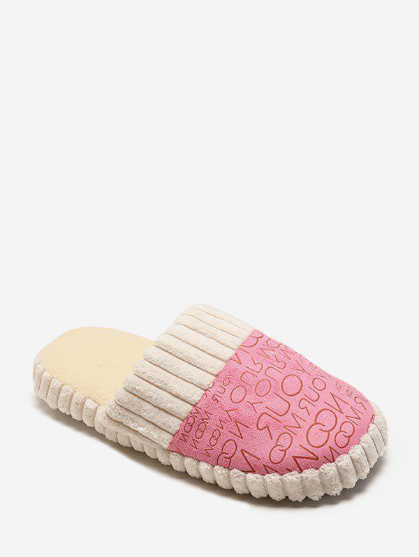 Letter Print Fuzzy Indoor Flat Shoes - PINK EU 36