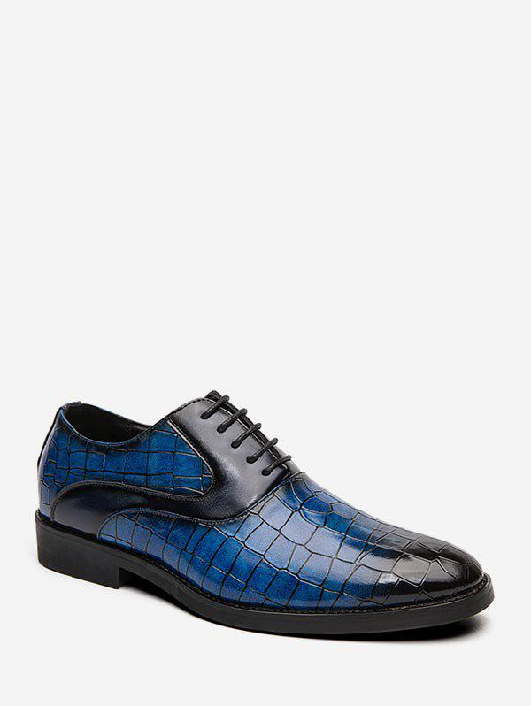 Animal Embossed Lace Up Leather Business Shoes - BLUE EU 39