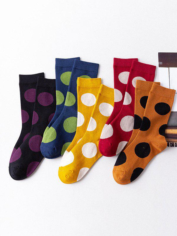 5Pairs Polka Dot Print Colorblock Socks Set - multicolor A