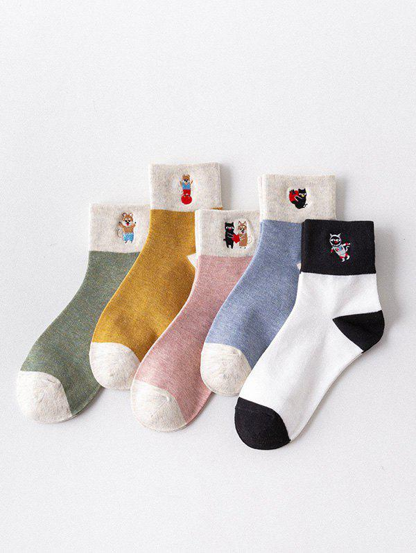 5 Pairs Cartoon Embroidered Quarter Length Socks - multicolor A